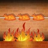 Roast chicken. Illustration of roast chicken on the fire Stock Image