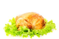 Roast chicken , isolated. Stock Photography