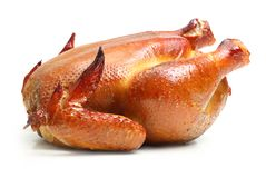 Roast chicken isolated Royalty Free Stock Photos