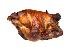 Roast chicken, isolated on white, with brown crust Royalty Free Stock Photography