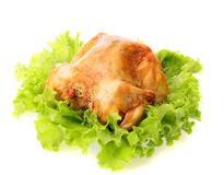 Roast chicken on leaves salad , isolated. Royalty Free Stock Photography