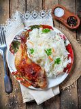 Roast chicken leg with salad of cabbage. Stock Images