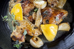 Roast Chicken with Lemon Garlic and Thyme Royalty Free Stock Photos