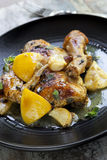 Roast Chicken with Lemon Garlic and Thyme Stock Photography