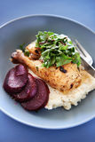 Roast chicken meal with vegetables and mash potato Stock Photo