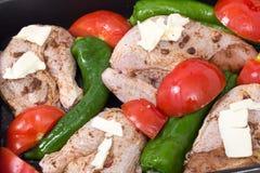 Roast chicken mediterranean style Stock Photo