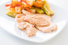 Roast Chicken with Mixed Vegetable Sour and Sweet Stir-Fry Stock Photos