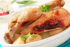 Roast chicken and new potatoes Stock Photos