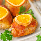 Roast Chicken with Oranges Royalty Free Stock Photography