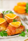 Roast Chicken with Oranges Royalty Free Stock Photo