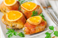 Roast Chicken with Oranges Stock Image