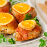 Roast Chicken with Oranges Royalty Free Stock Images