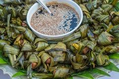 Roast chicken in pandanus leaf Royalty Free Stock Image