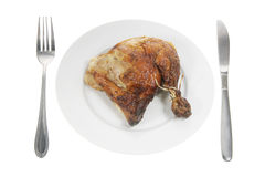 Roast Chicken on Plate Stock Photos