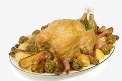 Roast Chicken platter Royalty Free Stock Images