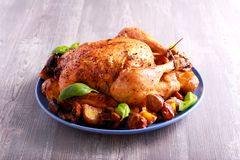 Roast chicken with potato and mushrooms. On plate Stock Photography
