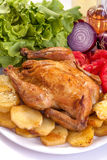Roast chicken. With potato, vegetables and salad Stock Images