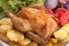 Roast chicken. With potato, vegetables and salad Royalty Free Stock Photos