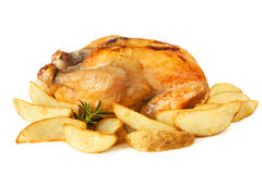Roast chicken with Potato Wedges stock photos