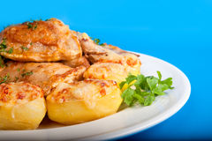 Roast chicken with potatoe Stock Photography