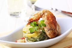 Roast chicken and potatoes Royalty Free Stock Photo