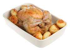 Roast Chicken and Potatoes. In a ceramic roasting dish Royalty Free Stock Photos