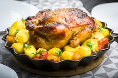 Roast chicken with potatoes. And other vegetables royalty free stock image