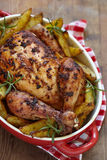 Roast chicken with potatoes Stock Photography