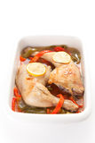 Roast chicken with red and green peppers Stock Image