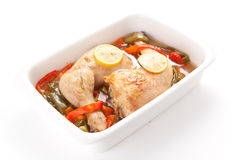 Roast chicken with red and green peppers Royalty Free Stock Photography