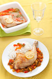 Roast chicken with red and green peppers Stock Photo
