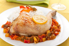 Roast chicken with red and green peppers Royalty Free Stock Photo