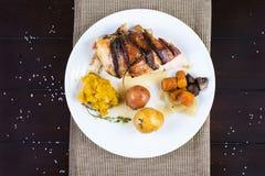 Roast chicken restaurant dish Stock Images
