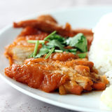 Roast Chicken with rice Stock Photo