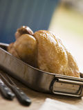 Roast Chicken in a Roasting Tray Royalty Free Stock Photos