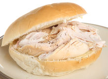 Roast Chicken Roll. Roast chicken in a soft white bap Royalty Free Stock Photo