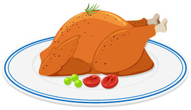 Roast chicken on round plate Royalty Free Stock Image