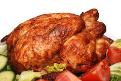 Roast chicken and salad. On a white background stock photos