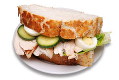 Roast chicken sandwich. Isolated on a white background stock photography