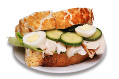 Roast chicken sandwich. Isolated on a white background royalty free stock images