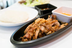 Roast Chicken with sauce and sticky rice Royalty Free Stock Photography