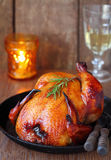 Roast chicken with a side of roasted vegetables Royalty Free Stock Photography