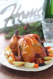Roast chicken with a side of roasted vegetables Royalty Free Stock Image