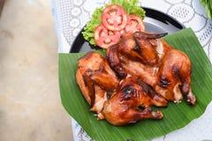 Roast chicken. A Roast chicken on the table Stock Photos