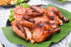 Roast chicken. A Roast chicken on the table Stock Image