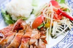 Roast chicken. With Thai papaya salad Royalty Free Stock Photography