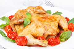 Roast chicken with tomatoes cherry, green basil and garlic. Royalty Free Stock Image
