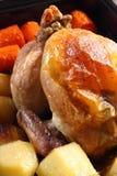 Roast chicken in tray B Stock Image