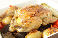 Roast chicken and vegetable Stock Photography