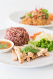 roast chicken and vegetable with berry rice Stock Images